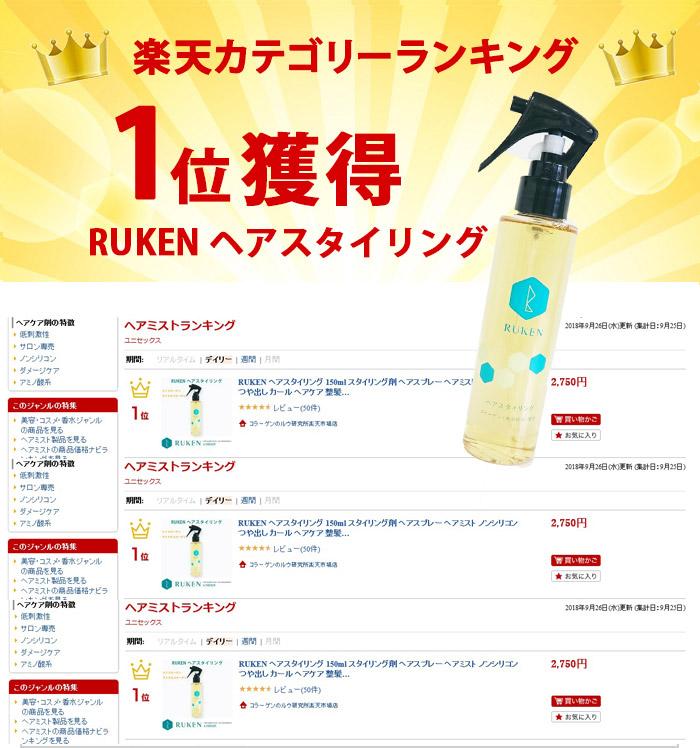 楽天カテゴリーランキング1位獲得「RUKENヘアスタイリング」