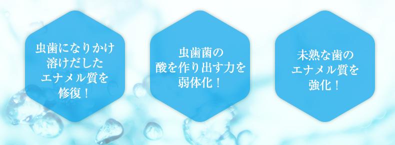 虫歯になりかけ溶けだしたエナメル質を修復! 虫歯菌の酸を作り出す力を弱体化! 未熟な歯のエナメル質を強化!