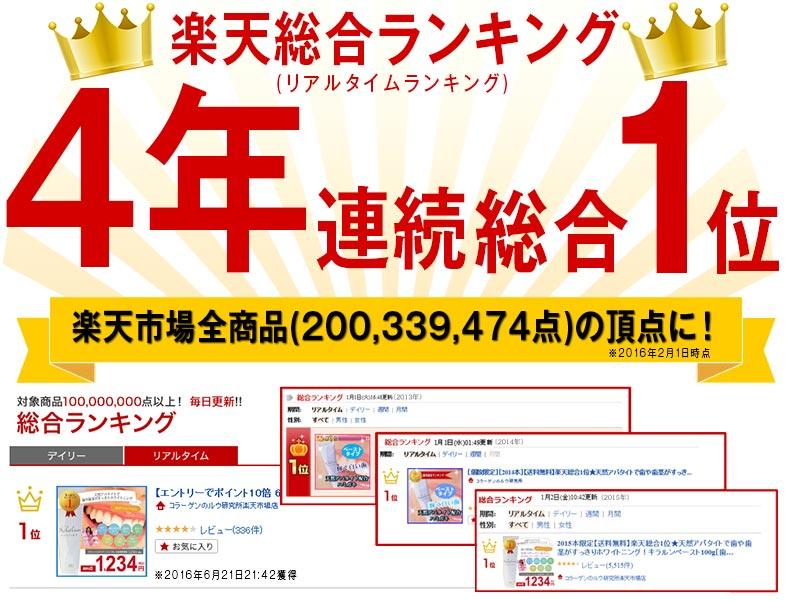 楽天総合ランキング4年連続総合1位